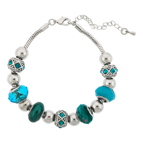 Dazzling Designs™ Silver-Plated Teal Artisan Glass Bead Bracelet