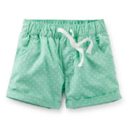 Carter's® Mint Polka Dot Poplin Shorts - Girls 6-24m