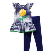 Youngland® Knit Top and Leggings Set - Girls 2t-4t