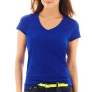jcp™ Short-Sleeve Slub V-Neck T-Shirt