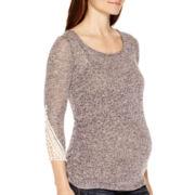 Maternity 3/4-Sleeve Lace Cuff Marled T-Shirt