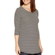 Maternity 3/4-Sleeve Striped Ribbed Tunic