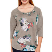 Arizona Raglan-Sleeve Floral Baseball T-Shirt - Plus