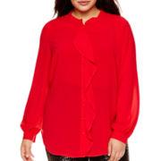 Bisou Bisou® Long-Sleeve Ruffle Blouse - Plus