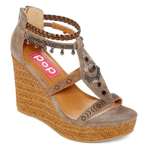 Pop Maine Womens Wedge Sandals