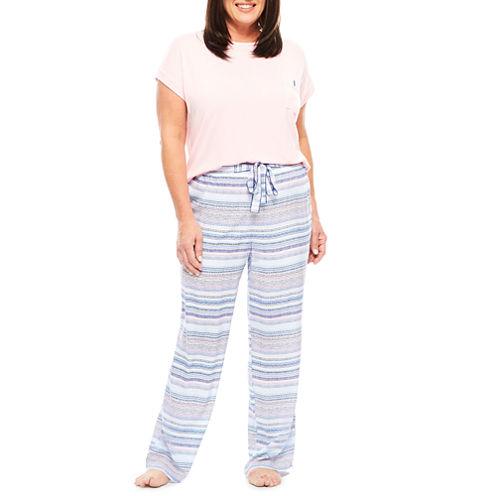 Liz Claiborne Jersey Pant Pajama Set-Plus