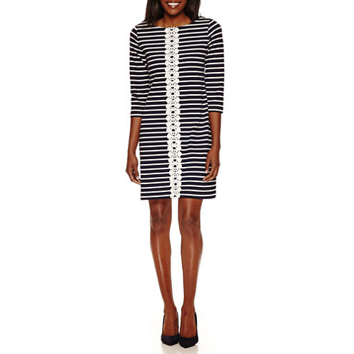 Studio 1 3/4 Sleeve Lace Stripe Shift Dress