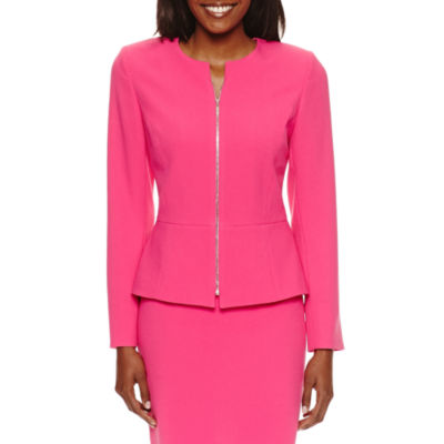 Chelsea Rose Long Sleeve Zip Front Suit Jacket