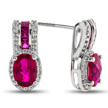 jcpenney.com | Lab-Created Ruby & White Sapphire Sterling Silver Drop Earrings