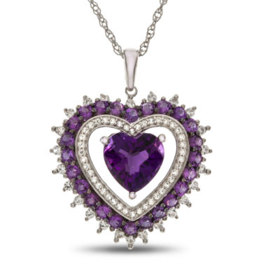 jcpenney.com | Lab-Created Amethyst & White Sapphire Sterling Silver Halo Heart Pendant Necklace