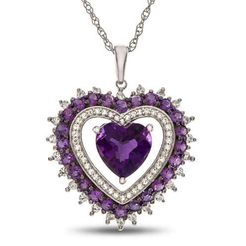 Lab-Created Amethyst & White Sapphire Sterling Silver Halo Heart Pendant Necklace
