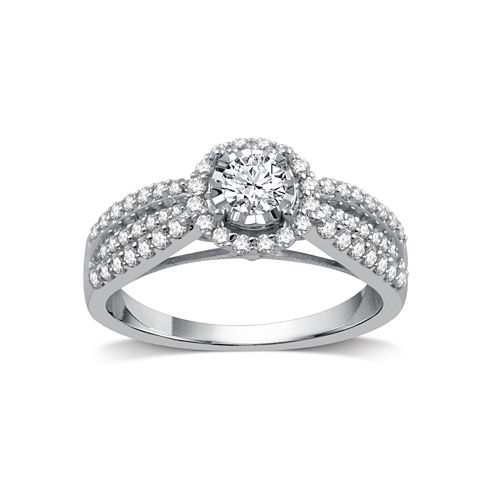 I Said Yes Womens 3/4 CT. T.W. Round White Diamond Platinaire Engagement Ring