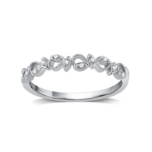 Womens Diamond Accent Round White Diamond 10K Gold Band