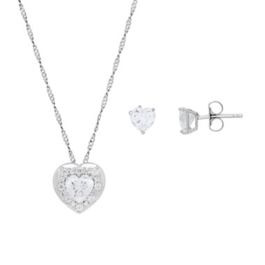 jcpenney.com | Diamonart Womens 2-pc. White Cubic Zirconia Sterling Silver Jewelry Set
