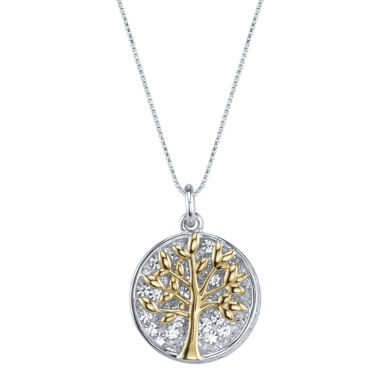 jcpenney.com | Inspired Moments Two-Tone Sterling Silver Crystal Inspirational Family Tree Pendant Necklace