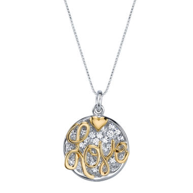 "jcpenney.com | Inspired Moments Two-Tone Sterling Silver Crystal Inspirational """"Love"""" Pendant Necklace"