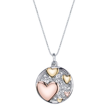jcpenney.com | Inspired Moments Tri-Tone Sterling Silver Crystal Inspirational Hearts Pendant Necklace