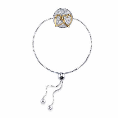 jcpenney.com | Inspired Moments™ Two-Tone Sterling Silver Crystal Interlocking Hearts Inspirational Bolo Bracelet