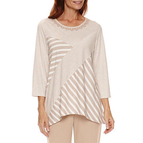 Alfred Dunner Just Peachy 3/4 Sleeve Crew Neck Stripe T-Shirt