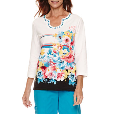 jcpenney.com | Alfred Dunner Tropical Vibe Short Sleeve Floral Stripe T-Shirt