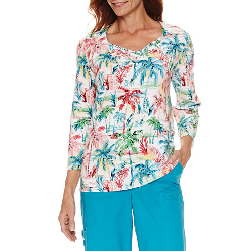 Alfred Dunner Tropical Vibe 3/4 Sleeve Palm Print T-Shirt