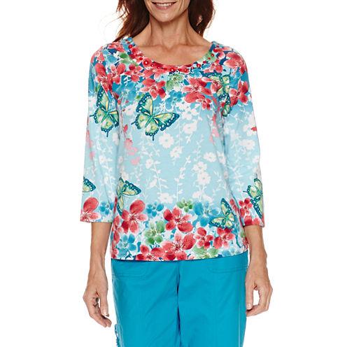 Alfred Dunner Tropical Vibe Short Sleeve Floral Border T-Shirt