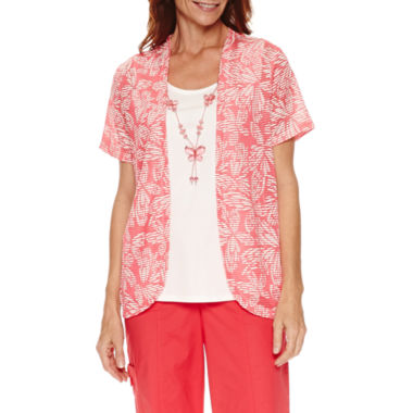 jcpenney.com | Alfred Dunner Tropical Vibe Short Sleeve Layered Top