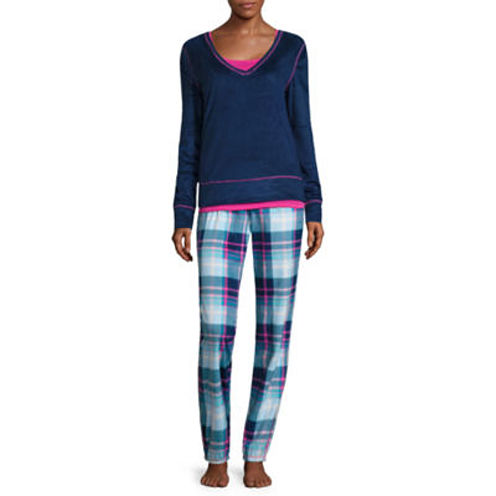 Flirtitude 3-pc. Checked Pant Pajama Set-Juniors