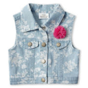 Little Maven™ by Tori Spelling Denim Vest - Girls 12m-5y