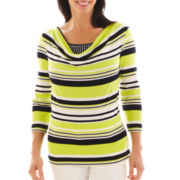 Lark Lane® Striped Cowlneck Knit Top with Tank Top