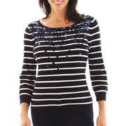 Lark Lane® Striped Boatneck Sweater with Pailettes