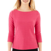 Liz Claiborne® 3/4-Sleeve Boatneck Textured Top - Petite