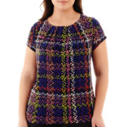 Liz Claiborne® Short-Sleeve Pleat-Neck Top - Plus
