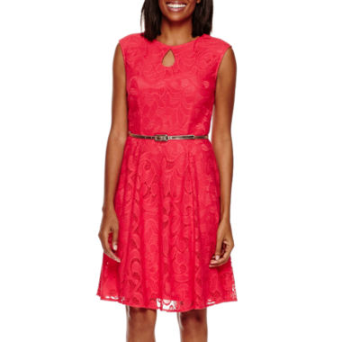 jcpenney.com | London Style Collection Sleeveless Lace Fit-and-Flare Dress