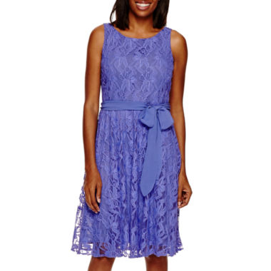 jcpenney.com | Danny & Nicole® Sleeveless Lace Fit -and-Flare Dress with Sash