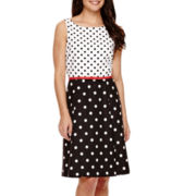 Ronni Nicole® Sleeveless Polka Dot Fit-and-Flare Dress