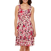 London Style Collection Sleeveless Floral Fit-and-Flare Dress
