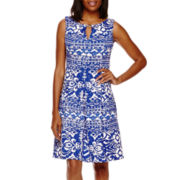 Danny & Nicole® Sleeveless Printed Fit-and-Flare Dress