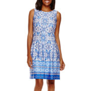 Danny & Nicole® Sleeveless Medallion Print Fit-and-Flare Dress