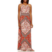 London Style Collection Halter Printed Maxi Dress