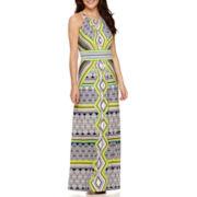 London Style Collection Halter Diamond Print Maxi Dress