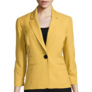 Black Label by Evan-Picone Long-Sleeve Crepe Ruched  Jacket