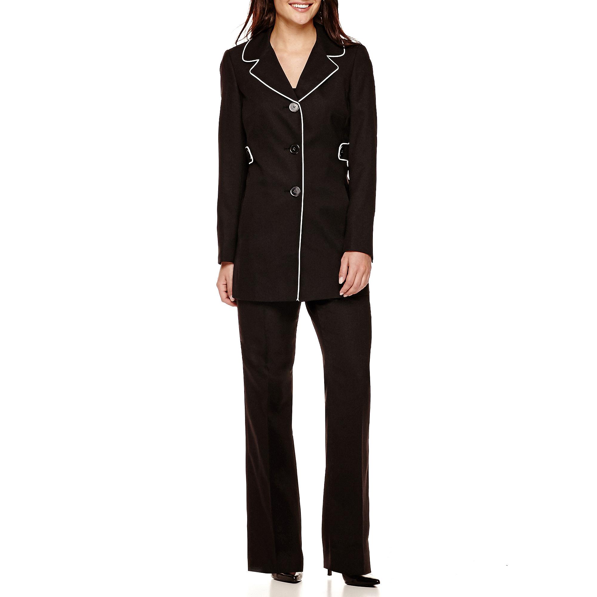Le Suit Crepe 3-Button Piped Pants Suit Set