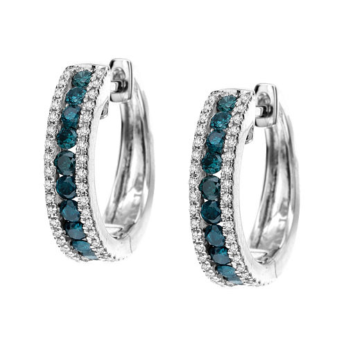 LIMITED QUANTITIES  1/2 CT. T.W. White and Color-Enhanced Blue Diamond 14K White Gold Earrings