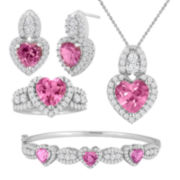 Lab-Created Pink Sapphire and Cubic Zirconia Sterling Silver 4-pc. Boxed Set