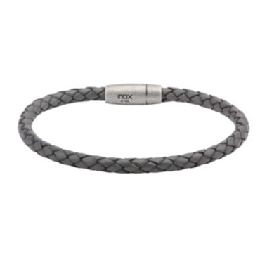 jcpenney.com | Mens Gray Leather Braid Stainless Steel Bracelet