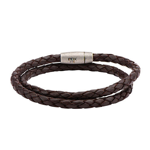 Mens Brown Leather Double Braid Stainless Steel Bracelet