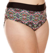 Breaking Waves Fantasia Island Lattice Side High-Waist Swim Bottoms - Juniors Plus