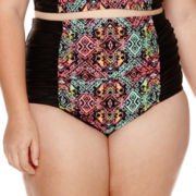 Breaking Waves Trinidad Tribal Shirred High-Waist Swim Bottoms - Juniors Plus