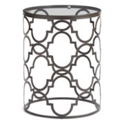 Outdoor Oasis™ Iron Quatrefoil Glass Top Accent Table